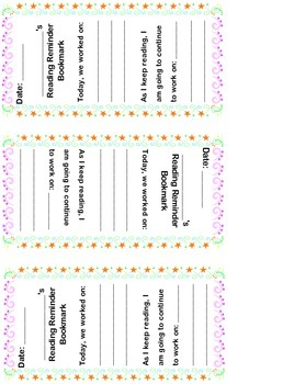 Reading Reminder Bookmark for Students