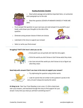 Reading Reminder Checklist (great reading strategy reminder for students)