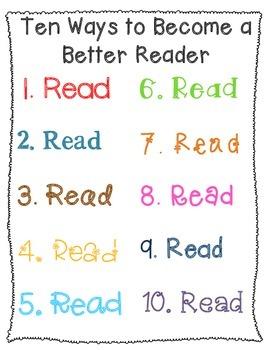 Ten Ways to Become a Better Reader {Classroom Sign}