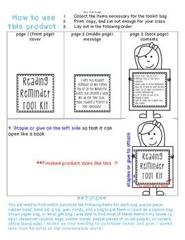 """FREE """"Reading Reminder Tool Kit"""" Parent Gift"""