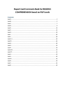 Reading Report Card Comment Bank based on F&P levels A-Z