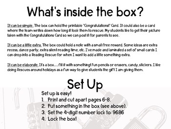Reading Rescue Locked Box Comprehension Challenge- Horton Hears a Who Dr. Seuss