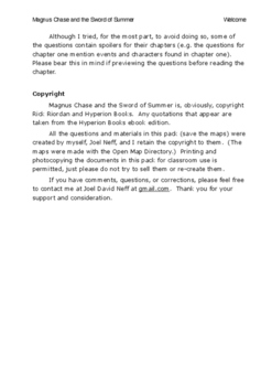 Reading Resource Pack for Magnus Chase and the Sword of Summer