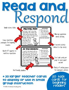 Read & Respond Task Cards: Setting Edition. Two versions. 20 Cards Each