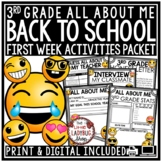 Back to School Activities 3rd Grade: All About Me Google Slide Beginning of Year