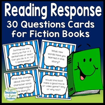 Reading Response Cards - 30 Question Cards for Fiction Books