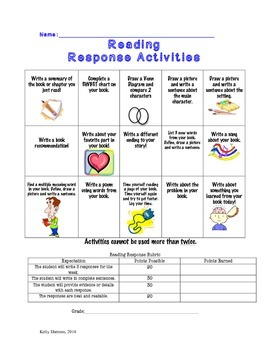 Reading Response Activities Chart with Rubric