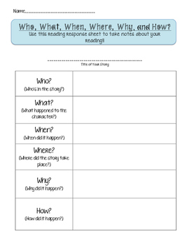 Reading Response: Answering Who, What, When, Where, Why, and How Questions
