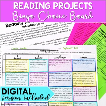 Reading Projects Choice Board DIGITAL and PRINT Distance Learning