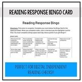 Reading Response Bingo Card - middle grades edition