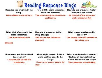 Reading Response Bingo Packet
