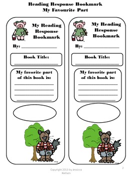 Reading Response Bookmark: My Favourite Part of the Story