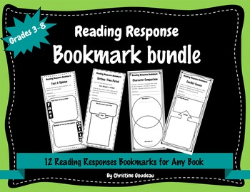 Reading Response Bookmarks Bundle - 12 Reading Comprehensi