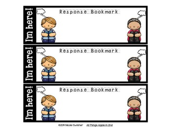 Reading Response Bookmarks! EDITABLE slides in PowerPoint