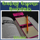 Reading Response Bookmarks - Editable Ink Saving