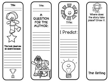 Reading Response Bookmarks, K-3, No Prep