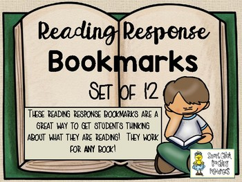 Reading Response Bookmarks - Set of 12 - For ANY Fictional Book!
