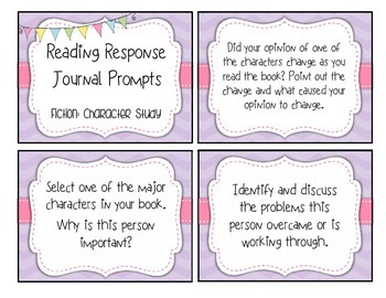 FREE Reading Response Character Study and Analysis Prompts