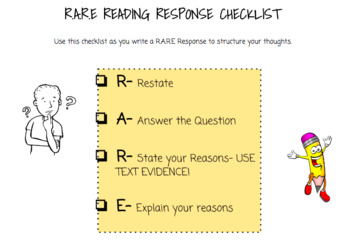 Reading Response Checklist and Rubric