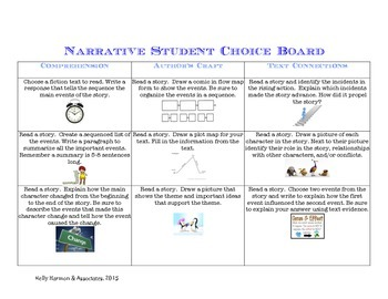 Narrative Reading Response Choice Board