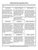 Reading Response Choice Board: Fiction