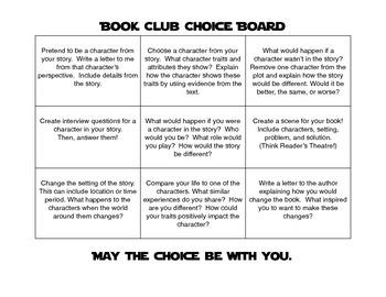 Reading Response Choice Board for Literature Circle