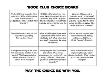 Reading Response Choice Board for Literature Circle