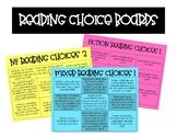 Reading Response Choice Boards