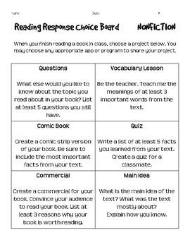 Reading Response Choice Boards: Fiction & Nonfiction