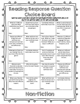 Reading Response Choice Boards- Fiction & Nonfiction Questions