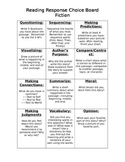 Reading Response Choice Boards Fiction and Non Fiction