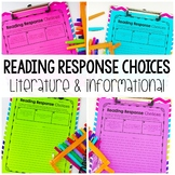 Reading Response Choices - Perfect for Reading Workshop or Guided Reading