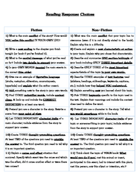 Reading Response Choices Fiction & NonFiction Third Grade Common Core Aligned