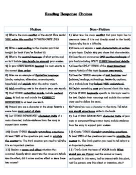 Reading Response Choices Fiction & NonFiction Third Grade