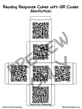 QR Code Reading Response Cubes {Fiction and Nonfiction, Grades 1 & 2)