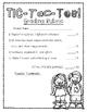 Reading Response Fiction Choice Board Tic Tac Toe (Alternate Version)