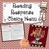 Reading Response Food Choice Menu
