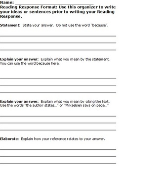 Reading Response Format and Checklist