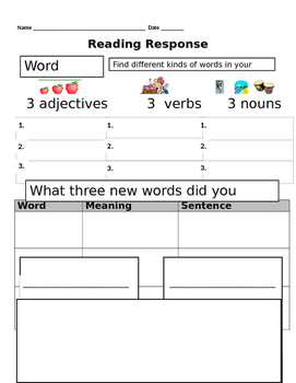 Reading Response Forms Non-Fiction/Fiction/ELL