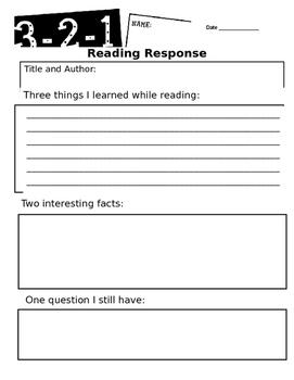 Reading Response Forms Non-Fiction/Fiction/ELL