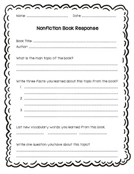 Reading Response Graphic Organizers for Fiction and Nonfiction Texts