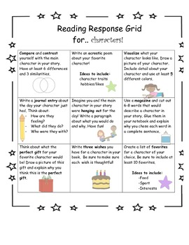 Reading Response Grid for Characters