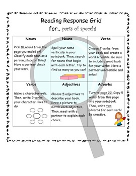 Reading Response Grid for Parts of Speech