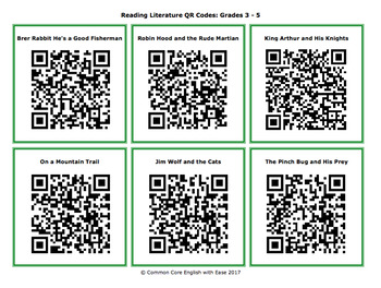 Reading Response Handouts & QR Code Bundle for EVERY Grade 3-5 Reading Standard