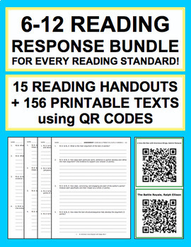 Reading Response Handouts & QR Code Bundle for EVERY Grade 6-12 Reading Standard