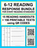 Reading Response Handouts & QR Codes for EVERY Grade 6-12 Reading Standard