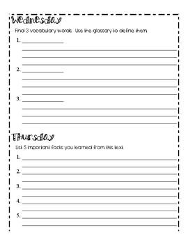 Non Fiction Reading Response Homework