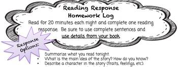Reading Response Homework Log