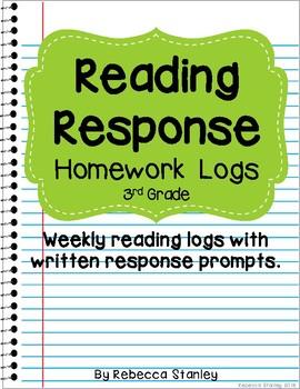 Reading Response Homework Logs for 3rd Grade