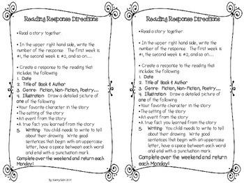 Reading Response Homework Notebook